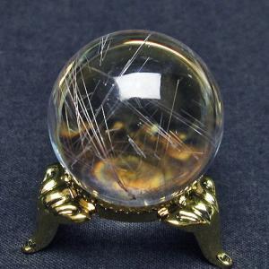 ガーデンクォーツ(庭園水晶)放射プラチナルチル入り水晶 丸玉 27mm  t637-4029 seian