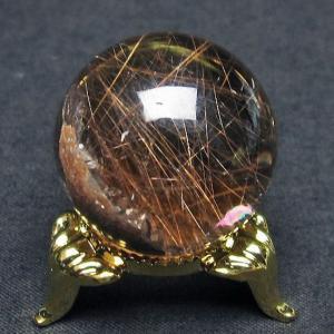 ガーデンクォーツ(庭園水晶)放射プラチナルチル入り水晶 丸玉 28mm  t637-4030 seian