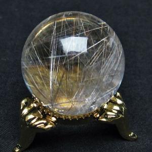 ガーデンクォーツ(庭園水晶)放射プラチナルチル入り水晶 丸玉 27mm  t637-4035|seian