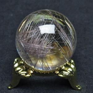 ガーデンクォーツ(庭園水晶)放射プラチナルチル入り水晶 丸玉 27mm  t637-4041 seian