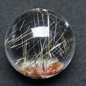 ガーデンクォーツ(庭園水晶)放射プラチナルチル入り水晶 丸玉 30mm  t637-4062|seian