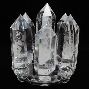 ヒマラヤ水晶浮彫り龍 六角柱七星陣 t72-305|seian