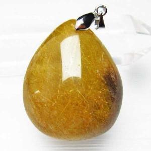 ゴールドタイチンルチルクォーツ ペンダント  パワーストーン 天然石 t741-884 seian