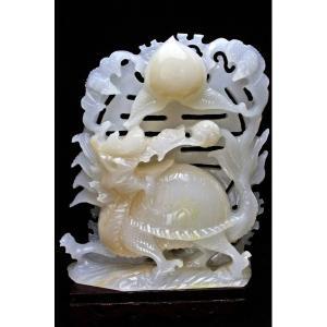 2.2Kg 漢白玉 手彫り 龍亀 置物 t756-468 seian