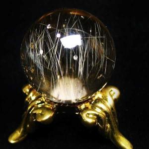 ルチル入り 水晶 丸玉 19mm  パワーストーン 天然石 t768-1479|seian