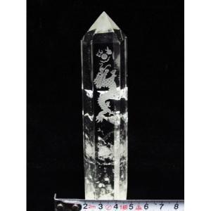 ヒマラヤ水晶浮彫り龍 六角柱 t768-751|seian