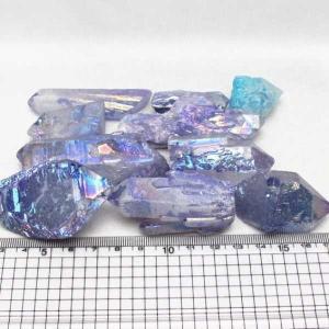 詰め合わせグラム売り オーラ水晶 オーラクリスタル クラスター (パープル) t802-1791|seian