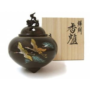 「平丸獅子蓋香炉・双鶴蒔絵」 銅製     【R310】 seibidou-surprise
