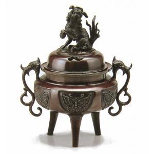 「大和型獅子蓋香炉(大)」 銅製   【送料無料】  【R320】 seibidou-surprise