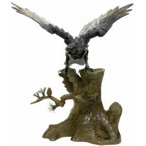 置物 松鷹 大 鉄製 彫刻 銅像 彫像 ブロンズ像 オブジェ フィギュア 吉祥開運 厄除け 鳥 R454 16453|seibidou-surprise