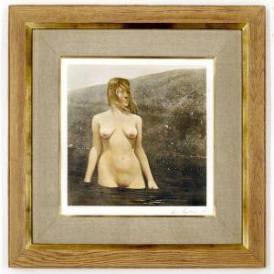アンドリュー ワイエス 「seabed」 コロタイプ ワイエス直筆サインあり 【余白にシミ】 ブランディワイン美術館監修 人物画 裸婦 #977