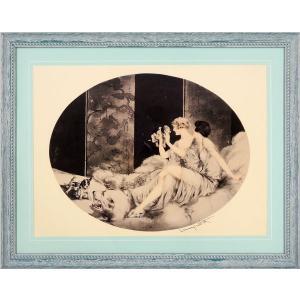 ルイ・イカール 作品  「PUPPIES」 美術印刷 複製画 額入り 新品 アールデコ レトロ パピー 子犬 人物画 美人画 B1149 (マット水色)|seibidou-surprise