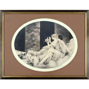 ルイ・イカール 作品 「PUPPIES」 美術印刷 複製画 額入り 新品 アールデコ レトロ パピー 子犬 人物画 美人画 B1150 (マット茶色)|seibidou-surprise