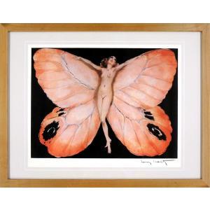 ルイ・イカール 作品 「PAPILLION FRONT」 美術印刷 複製画 額入り 新品 アールデコ レトロ 蝶 人物画 美人画 B1151|seibidou-surprise