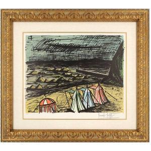 ベルナール・ビュフェ ビュッフェ 「海岸のテント」 リトグラフ 額付き 風景画 海 【現品限り】【送料無料】【真作保証】B1833|seibidou-surprise