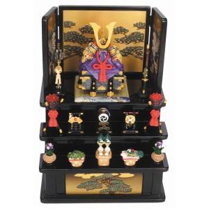 5088 ミニ五月人形 コンパクト 櫃付 兜(中)赤 三段飾...