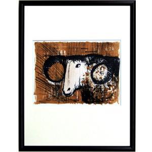 ベルナール・ビュフェ ビュッフェ 「羊・THE RAM(レゾネNo.26)」 複製画 (レゾネ画集より) インテリアフレーム 【現品限り】B3085|seibidou-surprise