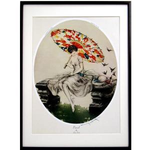ルイ・イカール 作品 「パラソル」 美術印刷 複製画 額付き 新品 アールデコ レトロ 人物画 美人画 小鳥と女性 B3255|seibidou-surprise
