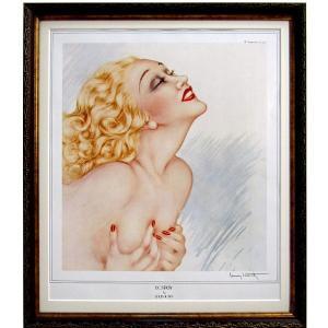 ルイ・イカール 作品  「エクスタシー」  美術印刷 複製画 額付き 新品 アールデコ レトロ 人物画 美人画 ブロンドの女性 B3256|seibidou-surprise