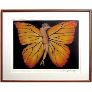 ルイ・イカール 作品  「PAPILLION-BACK(パピヨン-バック) 美術印刷 複製画 額付き 新品 アールデコ レトロ 人物画 美人画 B3335|seibidou-surprise