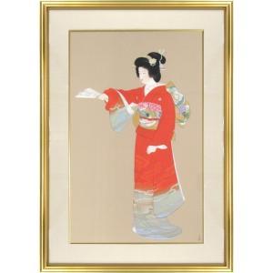 上村松園 作品「序の舞」セリグラフ シルクスクリーン 額外寸65x95cm 額付き 絵画 日本画 美人画 版画 京都 重要文化財 A1282|seibidou-surprise