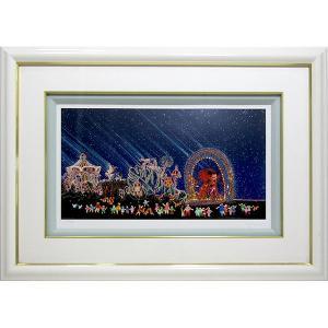 ヒロヤマガタ 絵画 シルクスクリーン 「夜のファンタジーパレード」 額付き ヒロ・ヤマガタ ディズニー ミッキーマウス B4052|seibidou-surprise