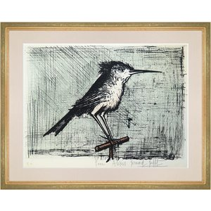 ベルナール・ビュフェ 作品「小鳥」 リトグラフ 額付き 絵画 版画 動物画 作家直筆サイン ビュッフェ 真作保証 B4203|seibidou-surprise