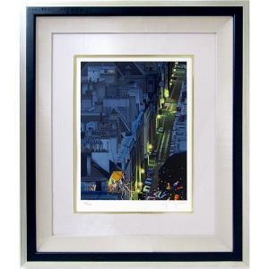 ヒロヤマガタ 絵画 シルクスリーン 「夜のサンジェルマン通り」 額付き 版画 ヒロ・ヤマガタ 1992年制作 パリの街 夜景 B4550|seibidou-surprise