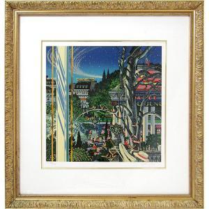ヒロヤマガタ 絵画 シルクスリーン 「イブニング・パーティ」 額付き 版画 ヒロ・ヤマガタ 1998年制作 パリの街 シャネルの5番 イヴニングパーティー B4551|seibidou-surprise