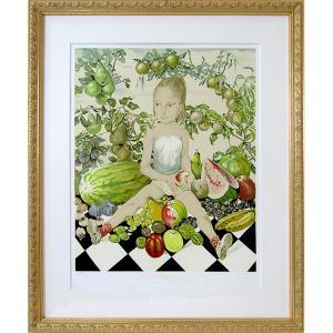 藤田嗣治 作品「少女と果物」リトグラフ エスタンプ 額付き 美品です 絵画 複製画 版画 真作保証 美少女 人物画 かわいい B4552|seibidou-surprise