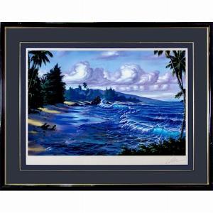 ラッセン 作品「パールズ・オブ・パラダイス」ミクストメディア 額付き 直筆サイン ハワイの風景 海辺 大型絵画 版画 LAHAINA STARLIGHT B4554|seibidou-surprise