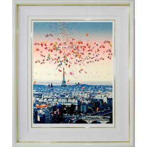 ヒロヤマガタ 絵画 シルクスリーン 「ジャズフェスティバル」 額付き 版画 We Love KOBE ヒロ・ヤマガタ 1997年制作 B4718|seibidou-surprise