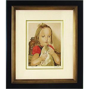 藤田嗣治 作品「フォークを持つ少女」リトグラフ エスタンプ 額付き 絵画 複製画 版画 真作保証 B4836|seibidou-surprise