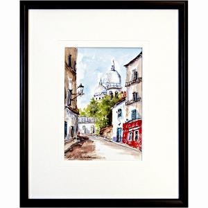 日下部寛 作品 「モンマルトルのサクレクール」 水彩画 真筆 F0号相当 小品 額付き 新品 フランス パリの風景画 絵画 洋画 壁掛け B5080|seibidou-surprise