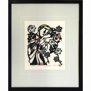 ■作家名:渡辺禎雄 ■作品名:イエス・キリスト ぶどうの木 1979年制作 ■技法 :和紙に型絵染め...