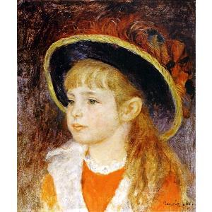 ピエール・オーギュスト・ルノワール 「青い帽子の少女」 額付き 小品 F3号相当 プリハード 複製画 印象派 個人所蔵 P10232|seibidou-surprise