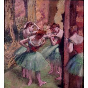 エドガー・ドガ 「踊り子、ピンクとグリーン」 額付き 小品 F3号相当 プリハード 複製画 印象派 バレエ オペラ座 メトロポリタン美術館/所蔵 P1061|seibidou-surprise