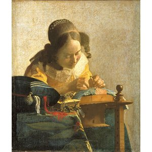ヨハネス・フェルメール 「レースを編む女」(小)F3号相当 額付き バロック 17世紀のオランダ絵画黄金期 ルーブル美術館 P1228|seibidou-surprise