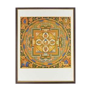 仏画 五智如来曼荼羅 額付き ポスター 美術印刷複製 仏教 仏事に 仏間のお飾りに 81017 マンダラ Mandala お守り|seibidou-surprise