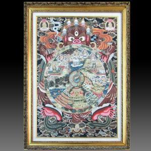 【チベット仏教画】 仏画 「六道輪廻図」 カルサン・ラマ/筆 肉筆画 81.5x107cm 希少な大型作 額付き 現品1点限り 仏教美術 #497