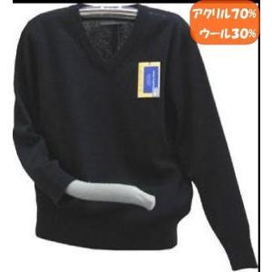 通学ブイネックセーター紺(濃紺)は、小学校、中学校、高校にお通いのお子様用の大きめサイズ学生ニットセ...