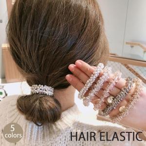 ヘアゴム キラキラ ヘアアクセサリー かわいい ゴールド オシャレ 髪飾り 上品 大人っぽい クリスタルビーズ 大人 上品 エレガント(メール便送料無料)