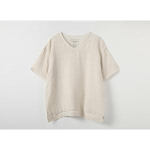 リネンコットンガーゼVネック半袖Tシャツ Mサイズ / オーガニックコットン PRISTINE プリスティン|seijo-fairy