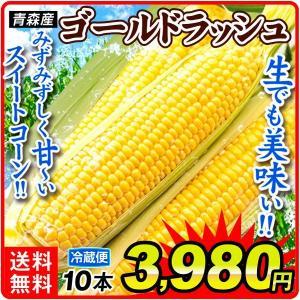 トウモロコシ 青森産 ゴールドラッシュ 10本 冷蔵便 甘い 生でも食べられる スイートコーン 野菜...
