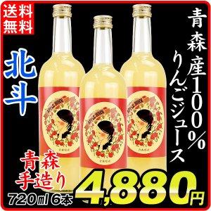 りんごジュース  北斗 果汁100% 青森産 (720ml×6本)1組 ほくと 希少品種 手造り ギフト 飲料 国華園|seikaokoku