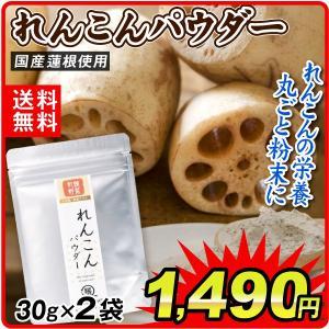 パウダー 国産 れんこんパウダー 2袋 (1袋30g)  メール便  送料無料 食品 ポイント消化 seikaokoku