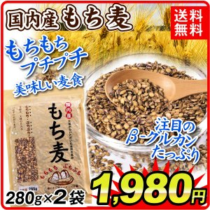 もち麦 国産 もち麦 2袋 (1袋280g入り) メール便 食品 国華園|seikaokoku