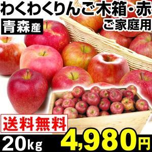 リンゴ 青森産 わくわくりんご木箱・赤 20kg 1箱 送料...