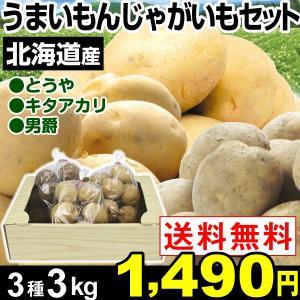 ジャガイモ 北海道産 うまいもんじゃがいもセット 3種3kg...