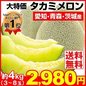 メロン 約4kg タカミメロン ご家庭用 青肉メロン 大特価 果物 食品|seikaokoku